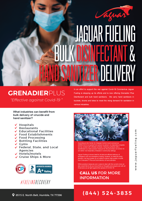 Jaguar Fueling Bulk Delivery of Hand Sanitizer and Disinfectant for Coronavirus
